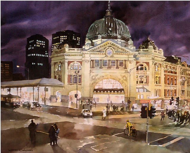 watercolour of Melbourne at night by Wayne Roberts