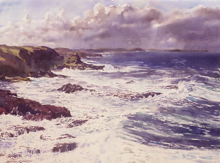 watercolor seascape of Phillip Island