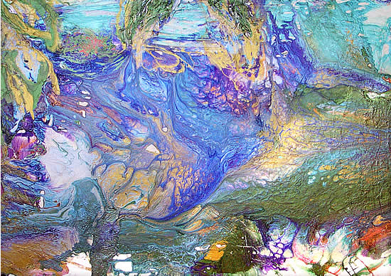 Centuries Flow, liquid viscous polymer metallic pigments on paper