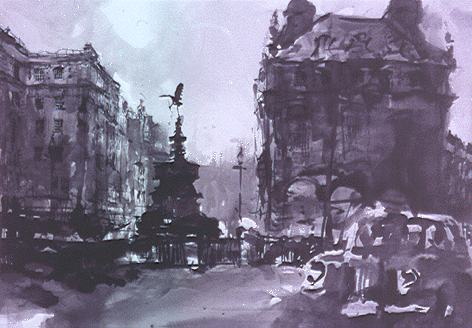ink, charcoal and graphite, Piccadilly Circus