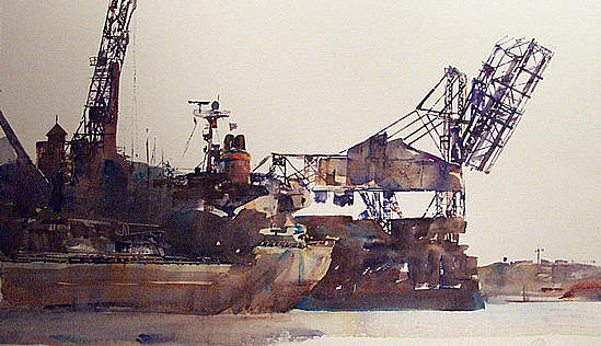 maritime watercolour painting, Port Melbourne, click to go back to seascapes 1
