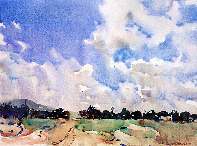Clouds across New England, watercolour landscape by Wayne Roberts
