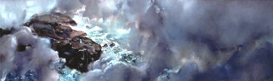Large watercolour seascape, Cape Otway from above, by Wayne Roberts