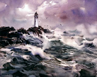 watercolour, lighthouse