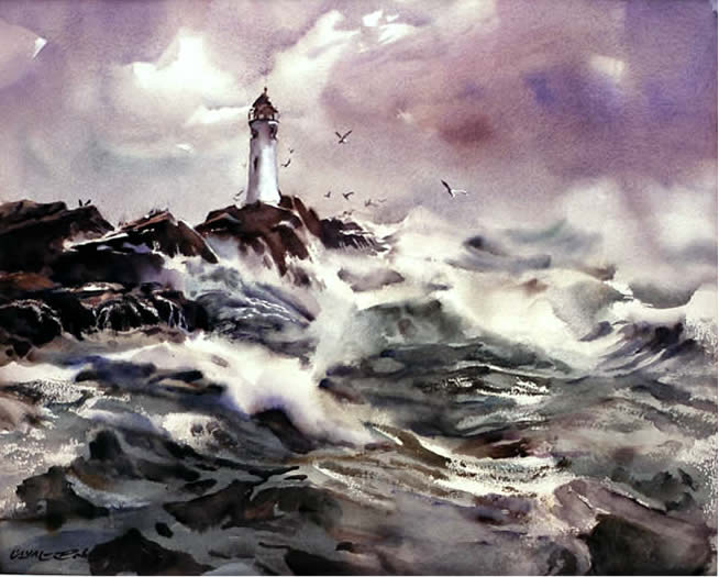 Lighthouse, watercolour by W.A. Roberts