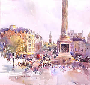 watercolour, Trafalgar Square
