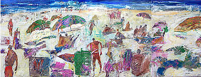 Whale Beach, acrylic and canvas collage, by Wayne Roberts