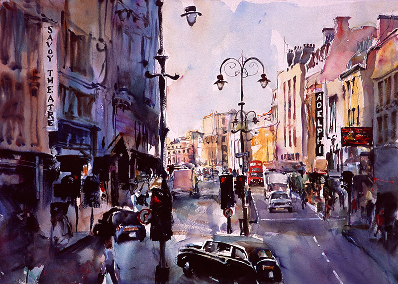 London Theatre District, watercolour by Wayne Roberts