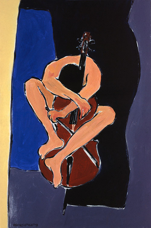 Song for Cello, acrylic painting by Wayne Roberts