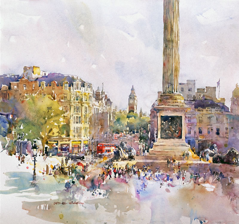 Trafalgar Square, watercolour