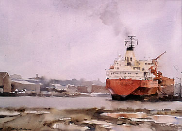 Port Melbourne watercolor by Wayne Roberts